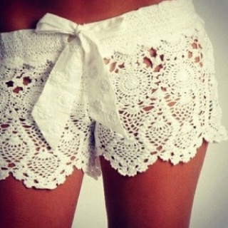 Fashion, Style, Coverup, Crochet Shorts, White Lace, Bath Suits, Beach, Lace Shorts, Covers Up
