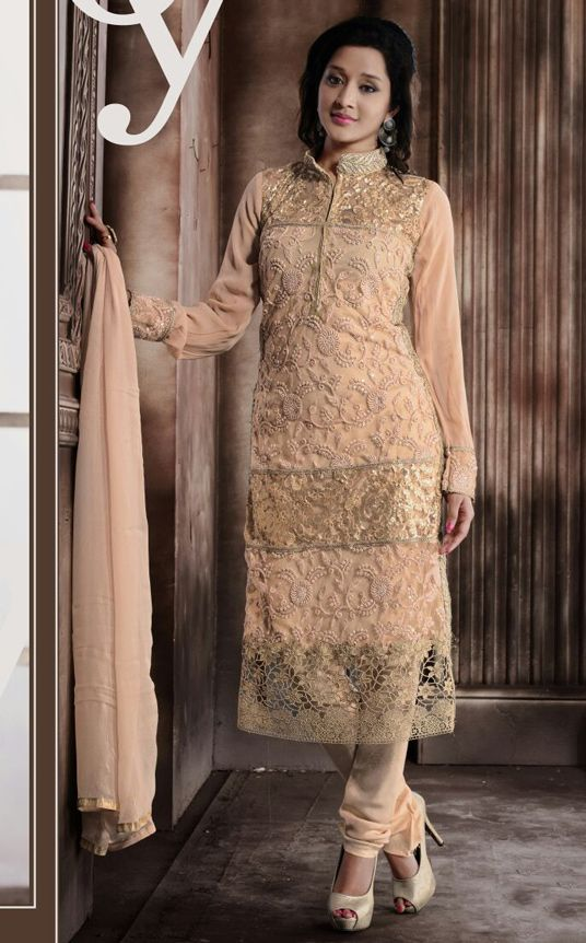USD 61.06 Beige Georgette Churidar Suit 55884