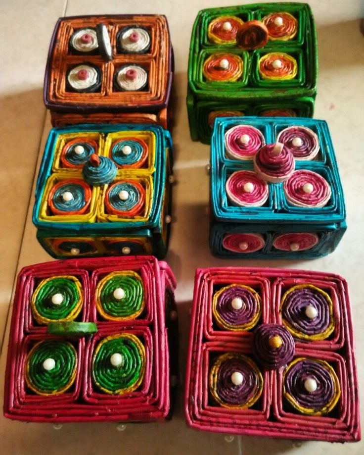 Newspaper jewellery boxes for sale.