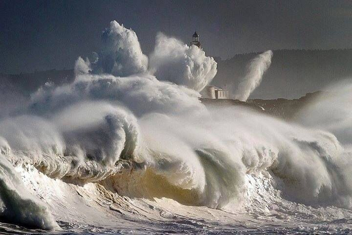 Wild seas and a lighthouse, Cantabria Spain