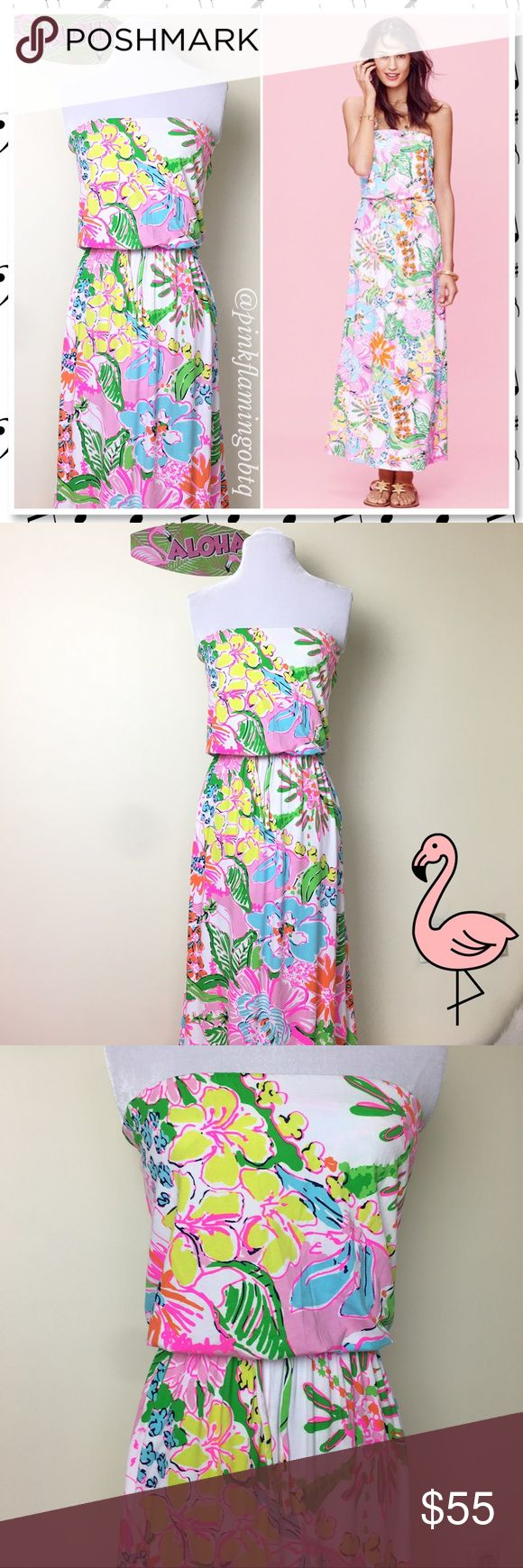 NWOT Lilly Pulitzer for Target Nosie Posey NWOT Lilly Pulitzer for Target Nosie Posey Strapless Maxi Dress. Summer is too short not to have fun, so celebrate in this chic style maxi dress with a bold pastel floral pattern that is about as fun as it gets. With a built in bra, elastic top and waist made with rayon and a hint of spandex, this dress is so comfy you'll never want to take it off! Limited edition Target collaboration *note: tiny hole in bottom of dress, so small i almost missed it…