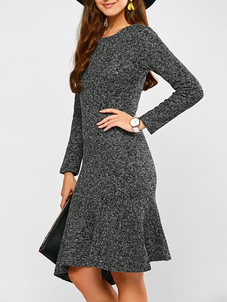 Woolen Asymmetric Fishtail Dress - GRAY M