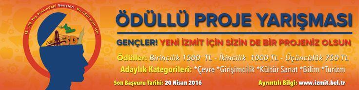 Haydi İzmit için hep beraber olalım! Çevre, Girişimcilik, Kültür Sanat, Bilim ve Turizm konularında İzmit için projeni üret ödül kazanma şansını yakala. Ayrıntılar; http://www.izmit.bel.tr/mudurlukhizmetleri/izmit-belediyesi-odullu-proje-yarismasi_0148/