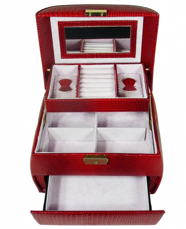 Šperkovnice zaoblená menší červená 5729   Bižuterie Kozák