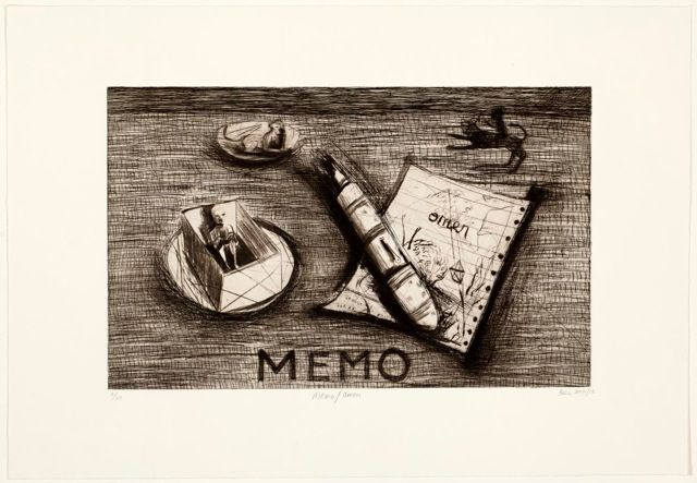 Memo/Omen (2012). Edition of 20 (available). Drypoint and etching