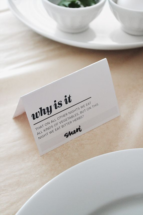 passover printable four question place cards | almost makes perfect