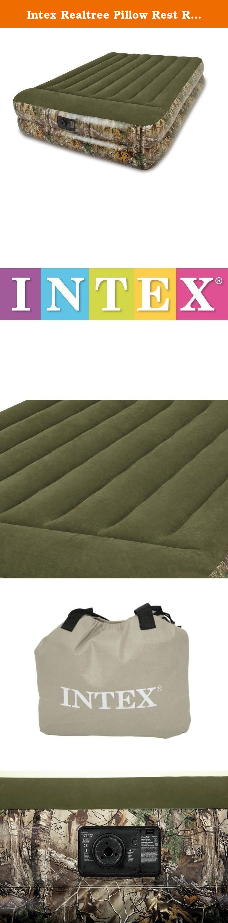 """Intex Realtree Pillow Rest Raised Airbed with Built-in Electric Pump - Queen. The Realtree Outdoors Raised Bed provides all of the great benefits of a raised bed and a build-in pump. This bed is perfect for guests who love the rugged outdoors. Quality-tested waterproof flocked top with vinyl sides and bottom. Standard queen size length and width to fit sheets. 16.5"""" (42cm) High mattress with built-in pillow for bed-like comfort."""