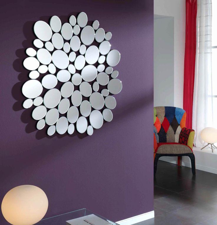 espejo decorativo redondo de cristal formado de espejos circulares biselados de diferentes tamaos cm x