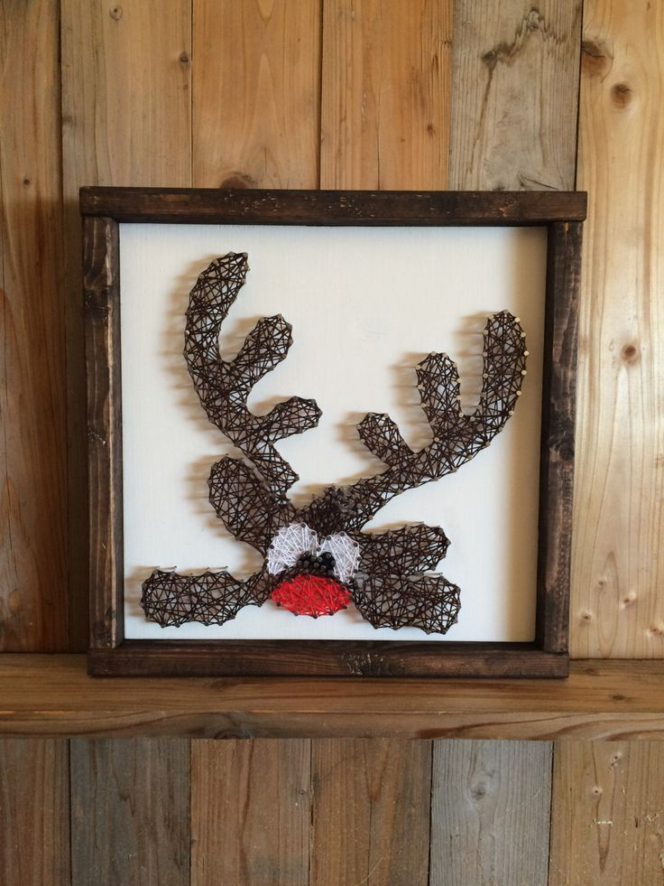Reindeer String Art - Christmas Decorations - String Art - Reindeer - Holiday Sign - Christmas String Art - Holiday Decor - Cute Reindeer by UrbanHoot on Etsy https://www.etsy.com/listing/480146573/reindeer-string-art-christmas