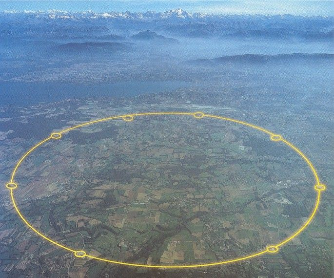 CERN's Large Hadron Collider. Seventeen miles wide and built underground spanning both Switzerland and France. So cool!