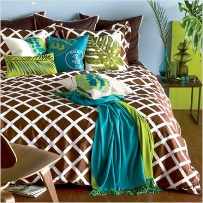 34 best bedrooms images on pinterest apartment bedroom for Brown and lime green bedroom ideas