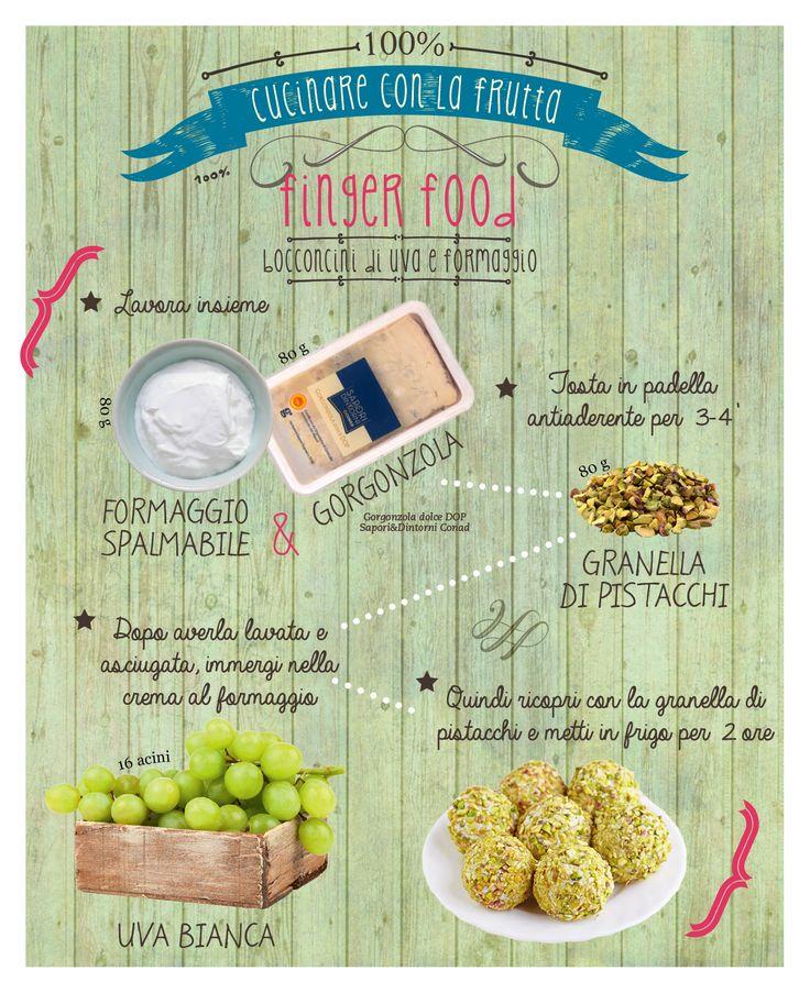 Se conosci solo l'abbinamento #cacio e #pere, prova anche #gorgonzola e #uva... successo garantito! Segui l'infografica per un perfetto #fingerfood e prova il Gorgonzola D.O.P. Sapori&Dintorni #Conad da 200 gr