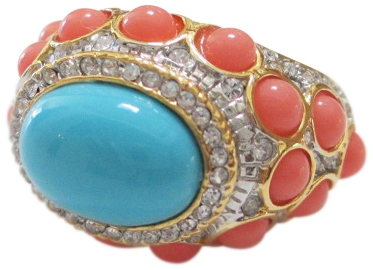 Kenneth Jay Lane Cabochon Blue Center Gold Tone Ring:
