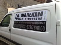 Magnetic signs for a painter and decorators van.