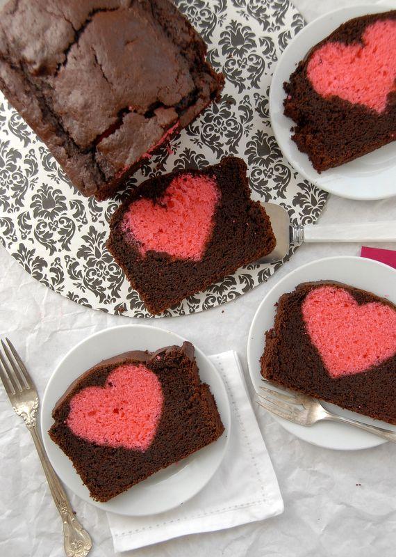Hidden Heart Valentine's Chocolate Cherry Pound Cake heart ...