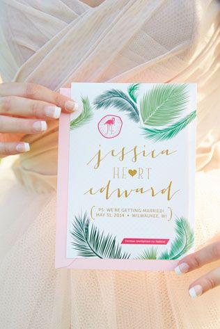 Тренды 2016 года: зеленые листья, пальмы и тропики, приглашение - The-wedding.ru