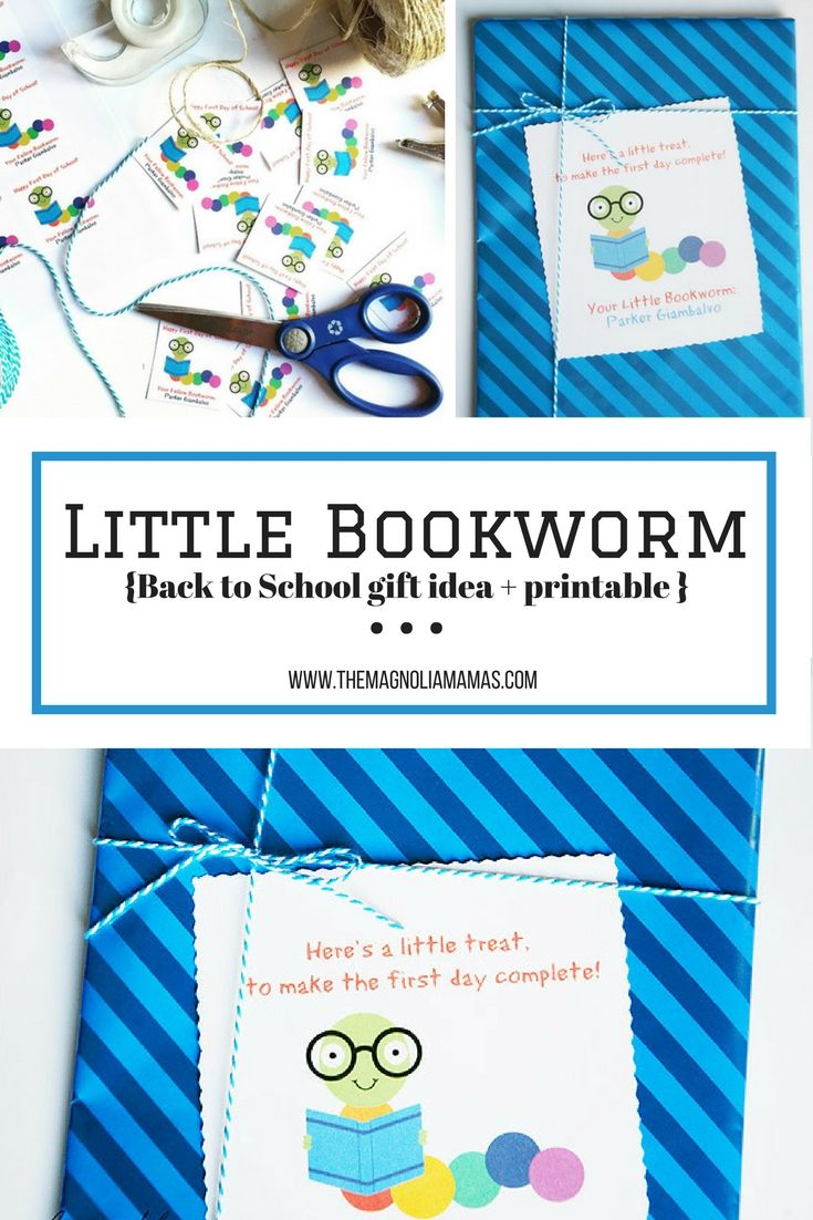 Little Bookworm back to school gift idea and free printable. Great idea for preschool and elementary school back to school gift ideas for teachers or kids!