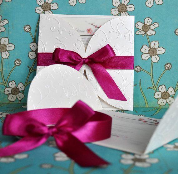 Cherry Blossom Invitation with Fuchsia Satin Bow. Wedding.