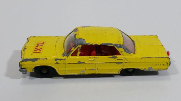 Vintage 1965 Lesney Matchbox Series Chevrolet Impala Taxi Cab No. 20 Yellow Die Cast Toy Car Vehicle