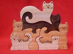 Artesanato Paraty - Artesanato em madeira: Gato 021 tam 20 cm x 18 cm R$ 30