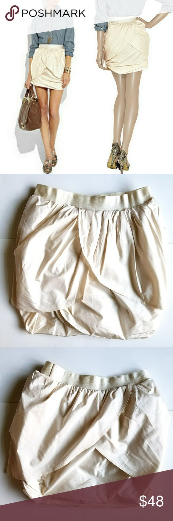 """J.Crew Silk Taffeta Tulip Skirt Gorgeous skirt in ivory silk taffeta. Double layered, elastic waistband. Can dress it up or down, one of a kind. 15"""" waist,  21"""" hips, 17"""" long. In excellent LIKE NEW condition. J. Crew Skirts Mini"""