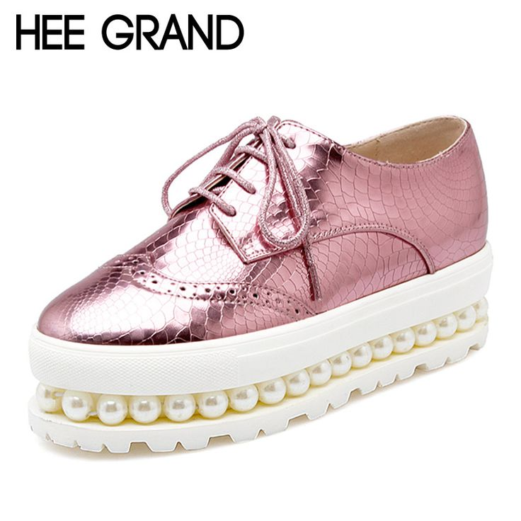 Women Oxfords 2016 Patent Leather Creepers Pearls Platform Shoes Woman Hollow…