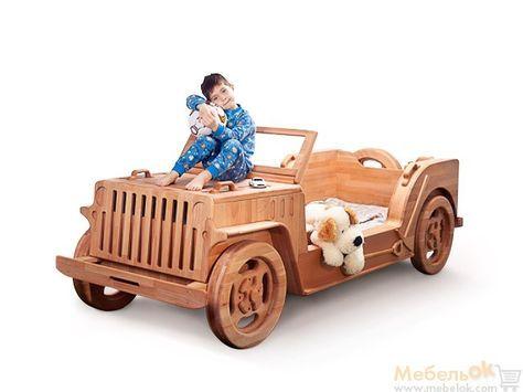 Кровать-машинка Джип. Деревянная детская кровать. Kids bed car, wood bed car