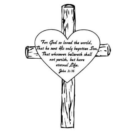 Cross Background Of John 3 16 Bible Verse Coloring Page About Gods Love To The World