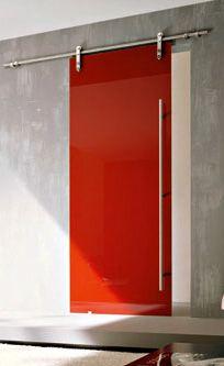 Porte scorrevole vetro rosso