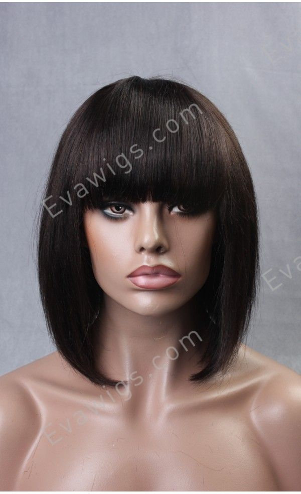 Inverted Bob with Full Fringe Bangs - Stock - EvaWigs