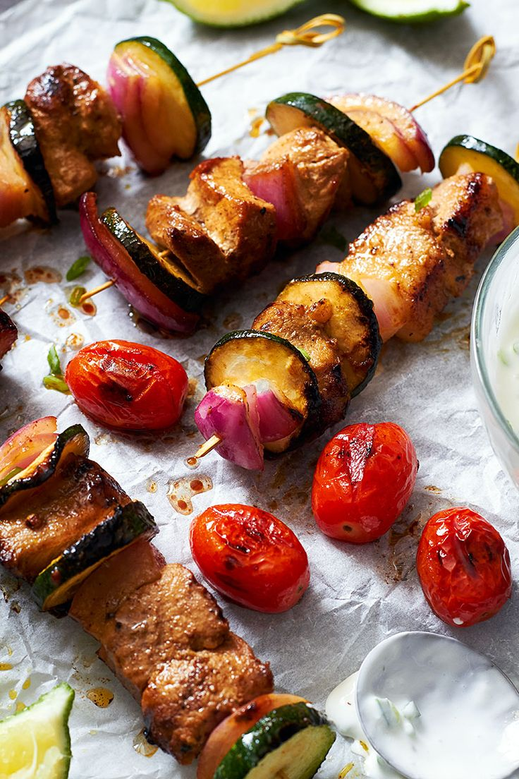 It's grilling season! You'll absolutely love the flavors of these pork kebabs marinated in a honey, soy sauce, sriracha mixture and grilled with red onions and zucchini. eatwell101.com