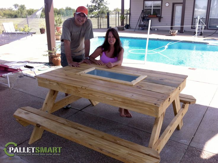 Repurposed Pallet Wood Raw Cooler Picnic Table Wood