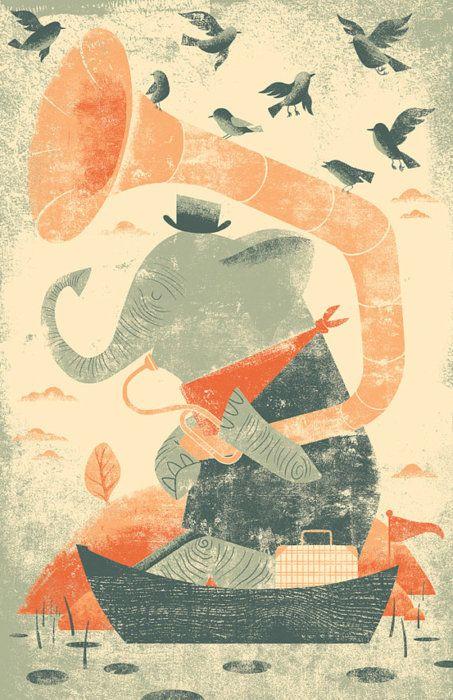 Kevin HowdeshellChild Room, Elephant Prints, Elephant Art, Block Prints, Graphics Prints, Kevin Howdeshel, Kids Room, Digital Prints, Boys Room