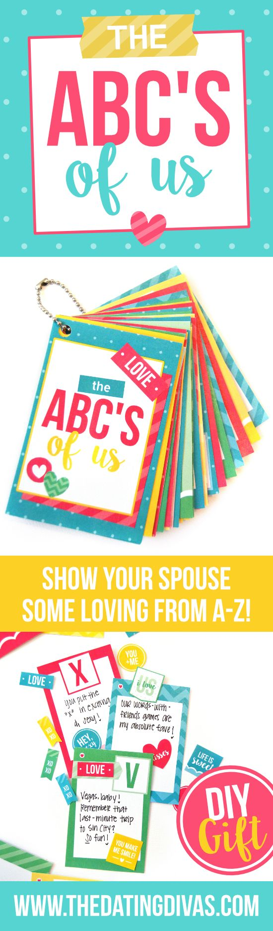 ABC's of Us DIY, Romantic Gift Idea- perfect for an anniversary gift, birthday present, V-day gift, etc.