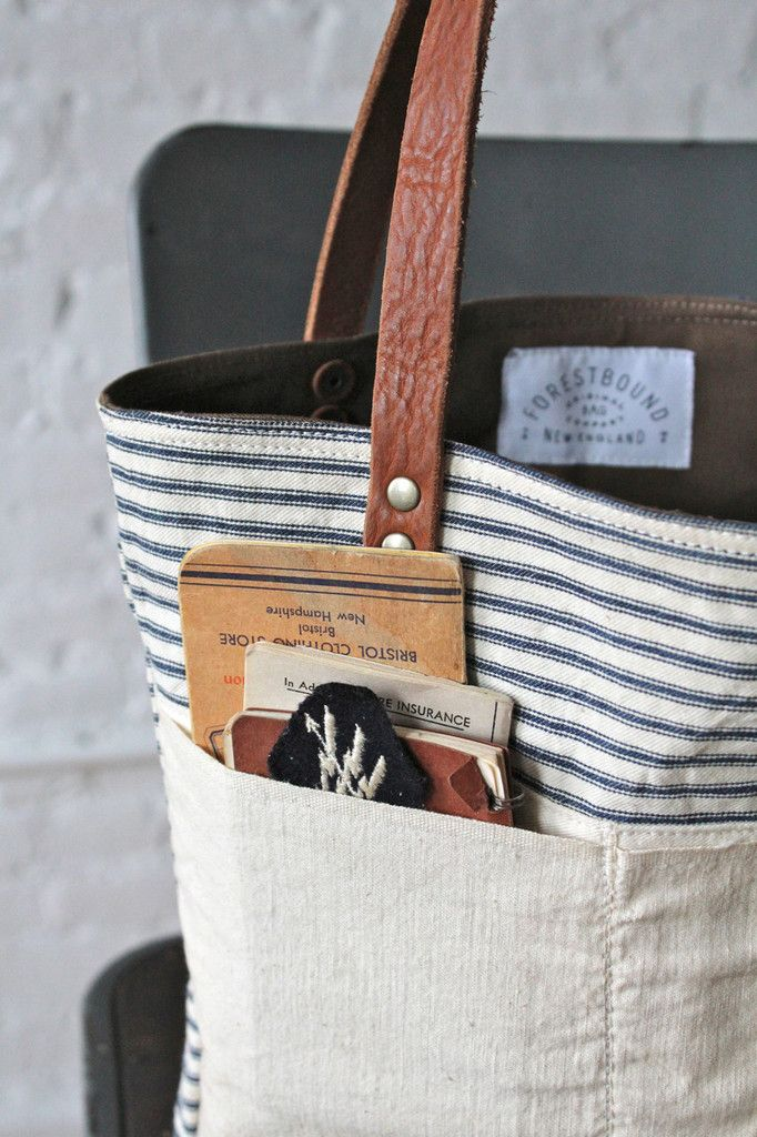1950s era Ticking Fabric Tote Bag by Forestbound