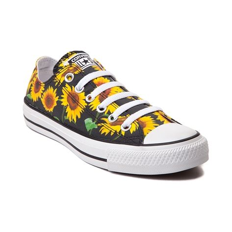 Kick it in sunny side up style with the new All Star Lo Sunflowers Sneaker from Converse! Take cover in these sweet Chucks featuring a sunflower printed, textile upper with signature Converse rubber cap toe. Available for shipment in July; Only available at Journeys and SHI by Journeys!