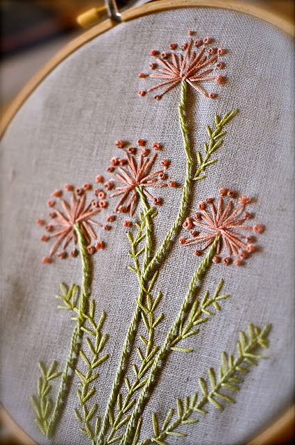 Stunning embroidered flowers via Patina Moon