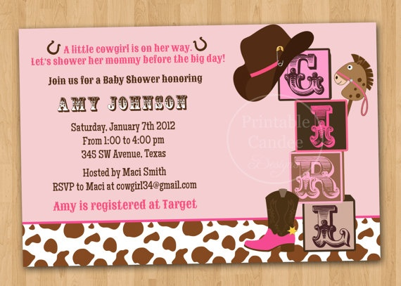 Printables: Cowgirl baby shower invitation & Wishes for Baby card - $13 total