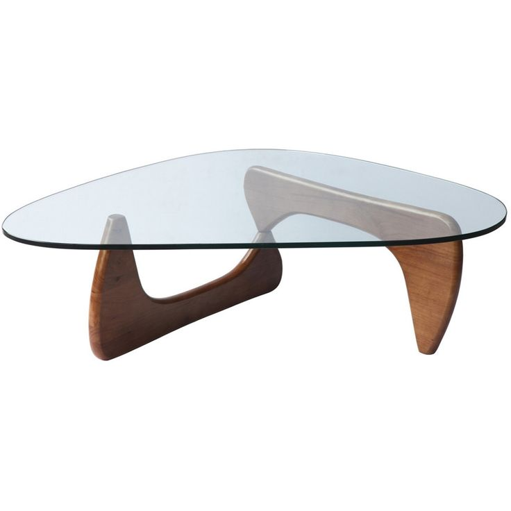 """This table consists of three basic parts a beautiful glass top and two interlocking wood base pieces. This classic design was first produced in 1944. - Dimensions: 16""""H x 50""""W x 36""""D - Color: Mid Waln"""