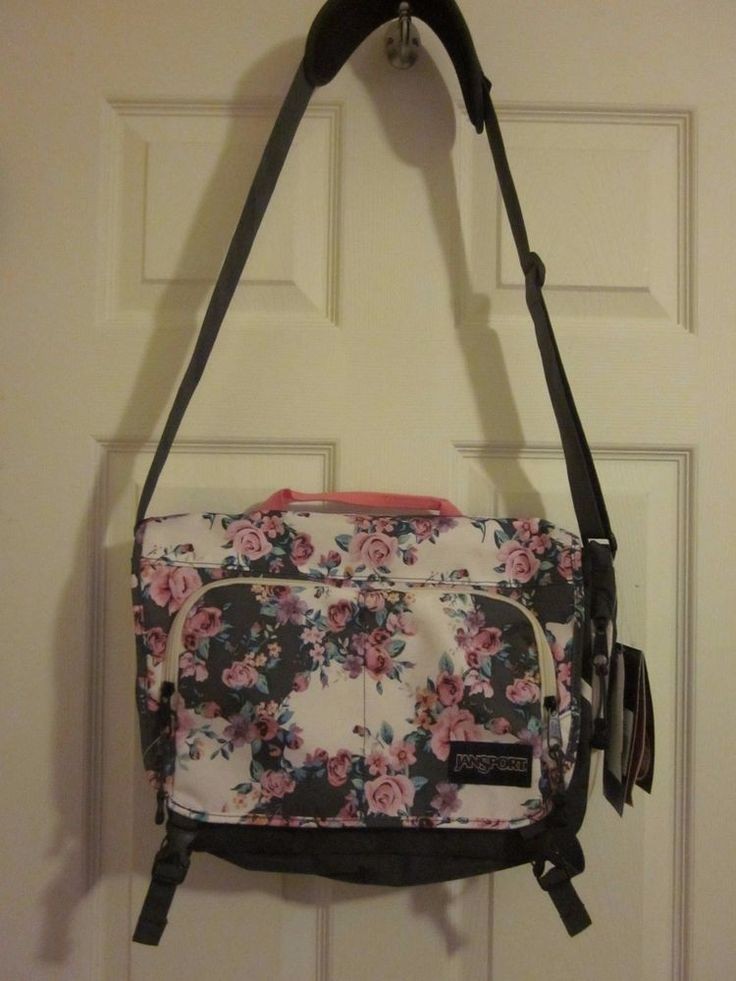 New Jansport Crossbody Laptop Bag Pink Roses School Computer Messenger Tote #JanSport #MessengerShoulderBag