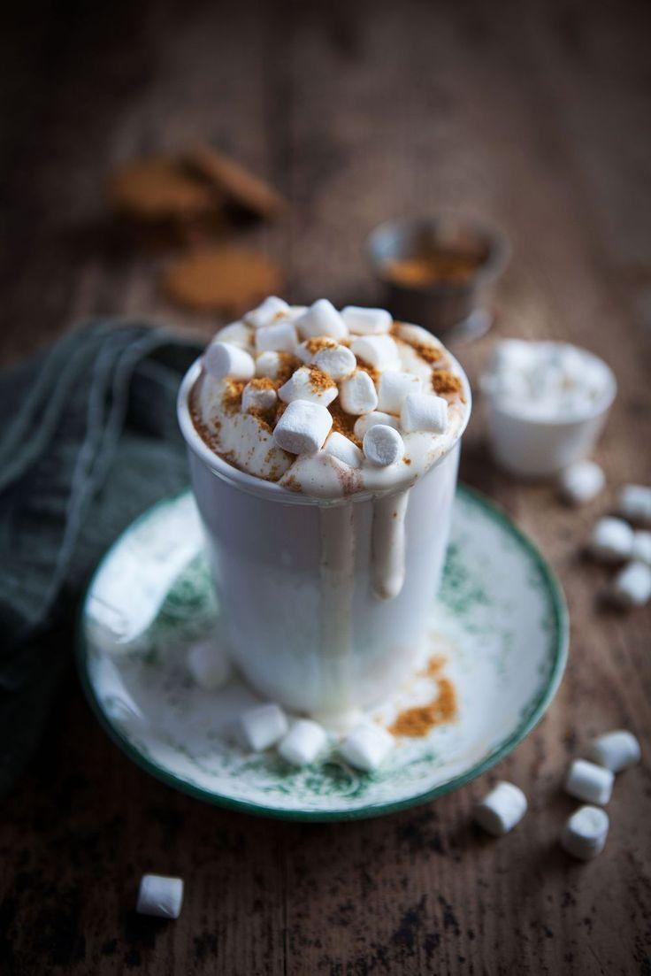 ... warm gingerbread hot chocolate with mini marshmallow ... desert food