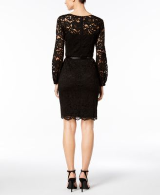 Ellen Tracy Petite Belted Lace Sheath Dress - Black 12P