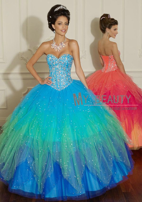 Sparkly Sweetheart Beaded Multi Color Ball Gown Layered Tulle Prom Dresses vestidos de 15 dresses Quinceanera 16447 $189.00
