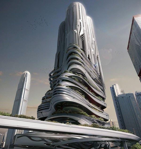 Honorable Mention. PieXus Tower: Maritime Transportation Hub Skyscraper For Hong Kong. Chris Thackrey, Steven Ma, Bao An Nguyen Phuoc, Christos Koukis, Matus Nedecky, Stefan Turcovsky (United States)