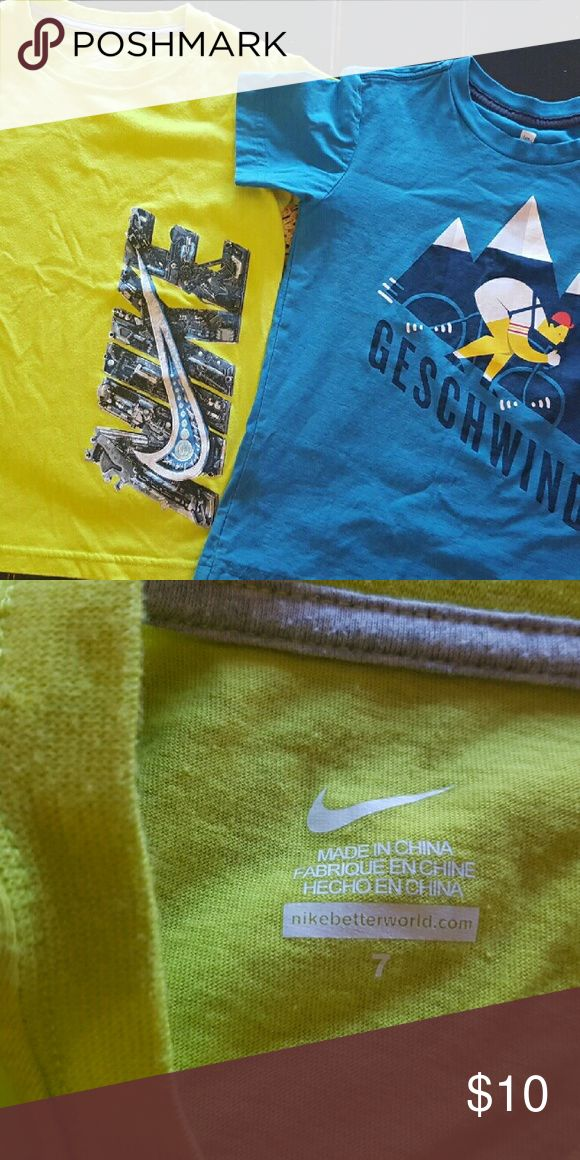 Tea & Nike brand t shirts Two short sleeve t-shirts, one Nike size 7, fits like 6, and Tea brand size 6 shirt. Nike Shirts & Tops Tees - Short Sleeve