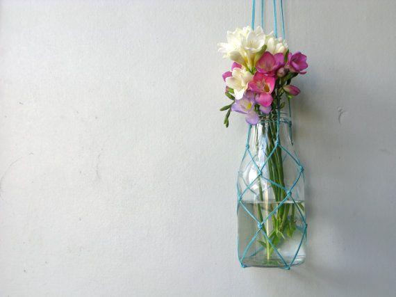 Spectacular Flower hanger Turqouise Plant hanger Fishing net by Chompa