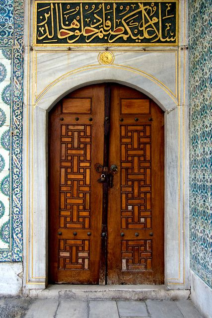 Topkapi Palace, Istanbul, Turkey.    (the Arabic characters which belongs to Ottoman period. Today -since 1923-  the current alphabeth is the Latin alphabet in Turkey.