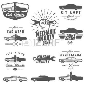 auto repair shop: Set of car service labels, emblems and design elements