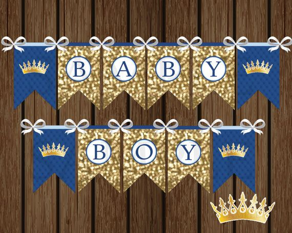 Prince Baby Boy Banner DIY Prince Baby Shower by welcometomystore