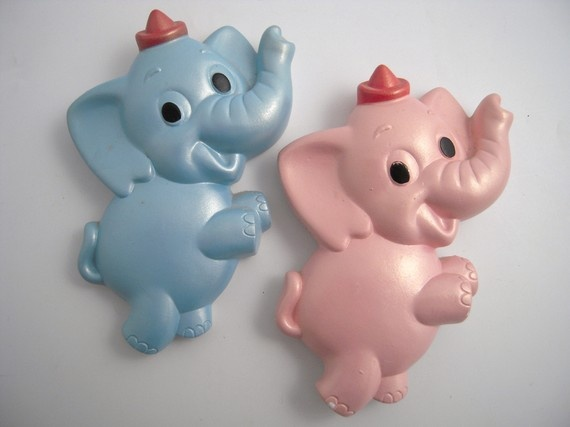 vintage chalkware elephants wall plaques pink blue - Bedroom Wall Plaques